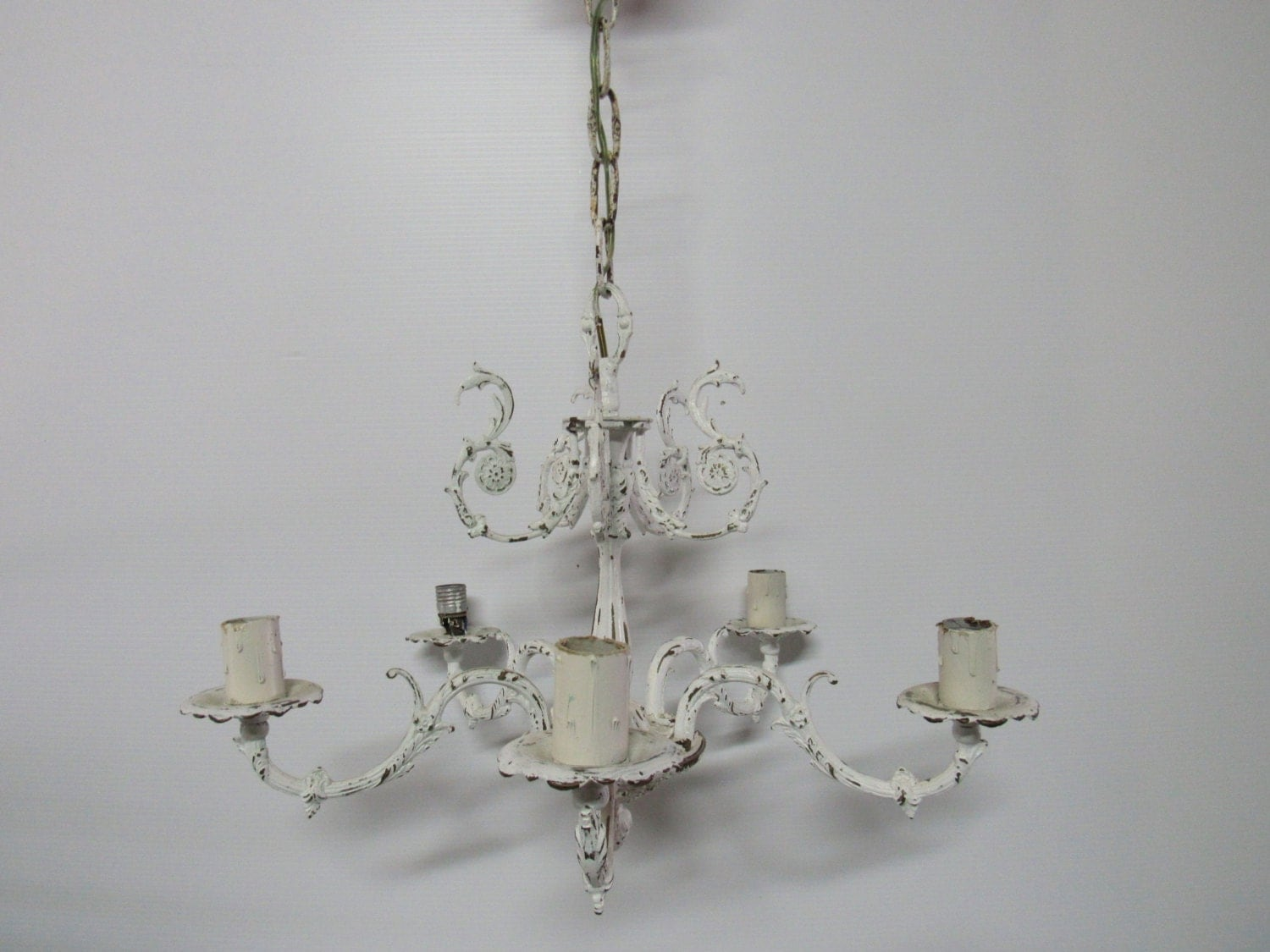 Shabby Chic Vintage Chandelier Distressed Rustic Wroght Iron