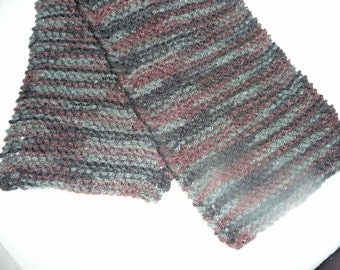 Gray, Black, and Brown Hand-Knitted Scarf