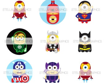 Superhero Minions - 1 inch circle images, bottlecap, cupcake topper - INSTANT DOWNLOAD