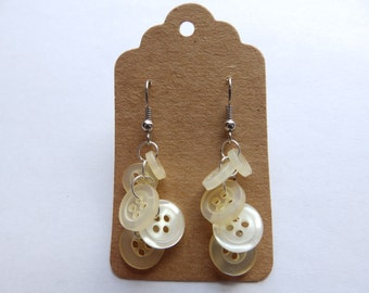 Upcycled Cream Button Hanging Earrings