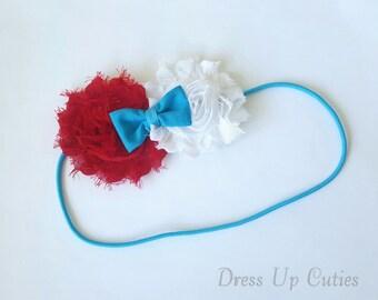 Red, White, and Blue Shabby Flower Headband