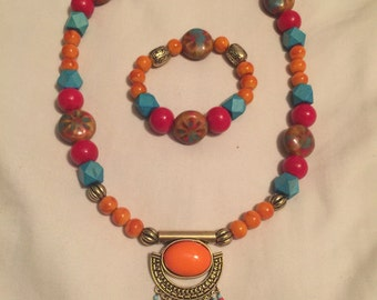 Bold Colorful necklace/bracelet set