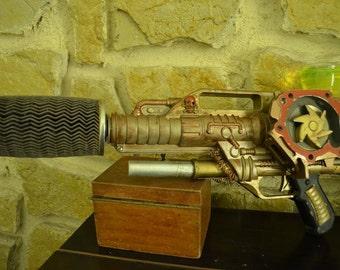 steampunk gun, stylized steampunk gun