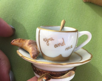"""Limoges France Coffee/Croissant """"You & me """""""