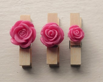 Set of 3 Wooden Pegs with Pink Rose