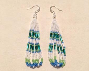 Native American Style Beaded Teardrop Fringe Earring-green ans blue