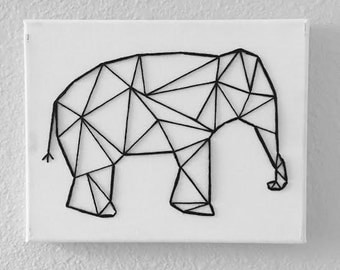 Elephant String Canvas Art, String Art, Elephant Decor, Room Decor, Nursery Decor, Wall Decor
