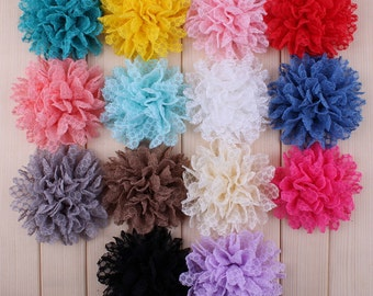 Fabric flowers, lace flowers, flower headband diy, headband flower, hair flower, chiffon lace flower,wholesale flowers, 10per color, HEA-13