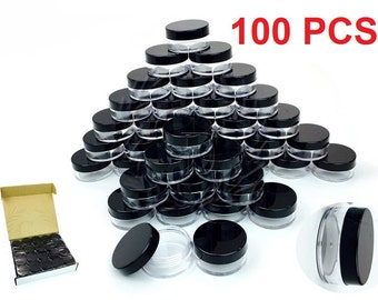 100Pcs High Quality Lotion Lip Balm Cream Sample Jar Containers (10 Gram/10ML)