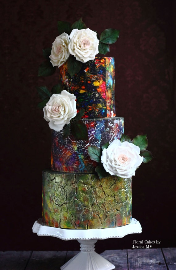 tie dye wedding cakes items similar to tie dye amp crackle vintage wedding cake 20963