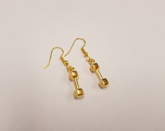 Dumbbell drop earrings | fitness jewellery | crossfit jewelry 9carat gold plated