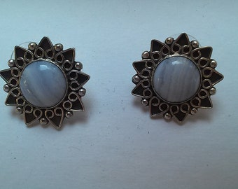 Lace agate pierced earrings in finely crafted sterling silver settings