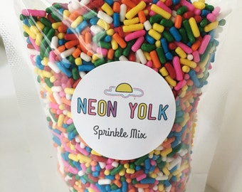 Edible Sprinkles - Classic Rainbow Sprinkles - cake, cookie , cupcake decorating - 4 oz. jimmies, strand sprinkles, sprinkle mix