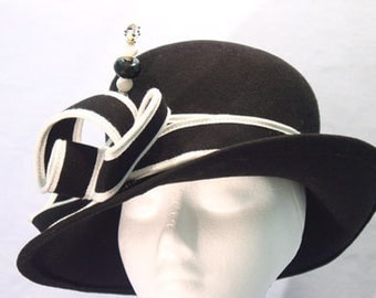 Handmade Black White Hat,Beaded Pin. Kentucky Derby,Church,Wedding Hat