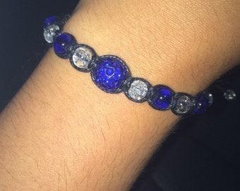 Blue shamballa style bracelet