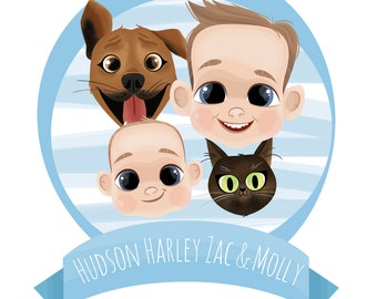 Children and Pets Illustrated Portraits (four people/pets)