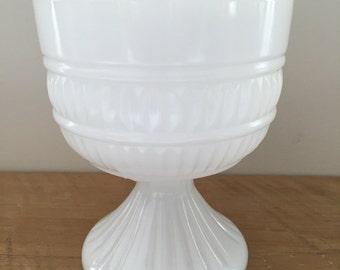 Milk Glass Pedestal Compote Bowl