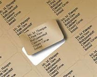 personalised gold Metallic labels 21x38mm  65 labels  per A4 sheet printed with your choice of text