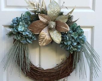 Christmas Wreath, Holiday Wreath, Blue Wreath, Hydrangea Wreath, Magnolia Wreath, Year Round Wreath, Front Door Wreath, Wreath Street Floral