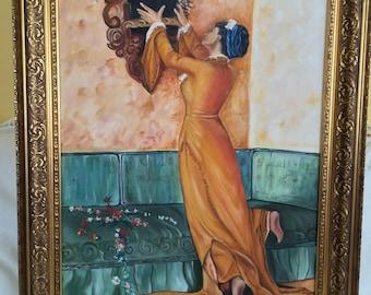 Flower girl handmade oil painting tables, frame 50x70