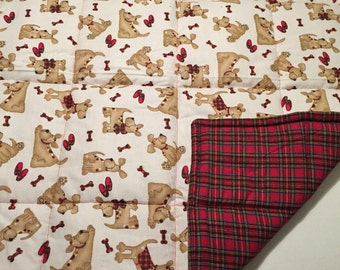 Red plaid puppy dog bed