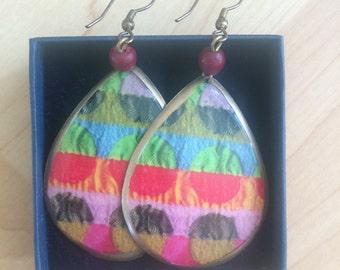 Bohemian multicoloured bronze effect earrings