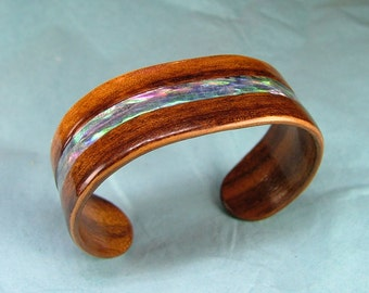 Tigerwood Bracelet with Abalone Shell Inlay - Small Bentwood, Ready to Ship.