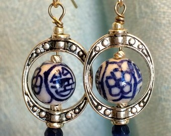 Blue and White Chinese Beads Inside Hoops Earrings