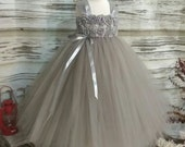 Free Shipping  to USA Custom Made Grey Tutu Dress-Dress for Flower Girls Available in Sizes Newborn  to 14 years old