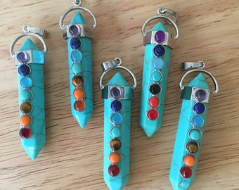 Faux Turquoise  7 Chakra Pendant/  Necklace Chakra Pendant CY103
