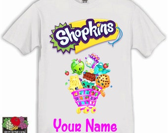 Shopkins Personalised Kids Tshirt Ages 1-13 Available