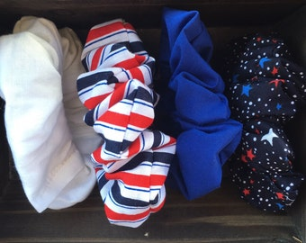 Red white and blue scrunchies set
