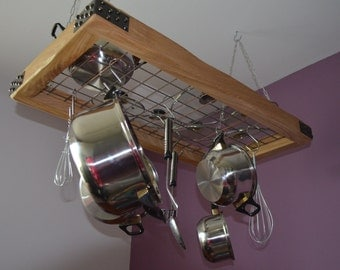 Solid oak, hanging pot rack with with cast iron/rivet effect corners. Free delivery!!