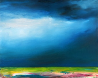 Original Abstract Oil Painting. Stormy Landscape. Blue abstract art. Free shipping.
