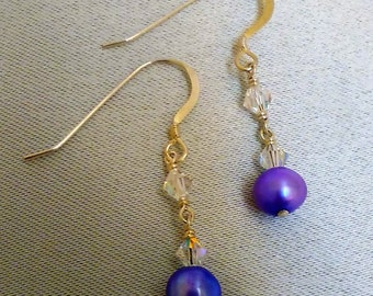 Violet Pearl and Crystal Earrings