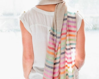Stone Rainbow Stripe Wool and Silk Scarf, Woollen, Quality, Scarves, Trending, Fashion, Soft, Unique, Colourful, Color, Stunning, AA1912S