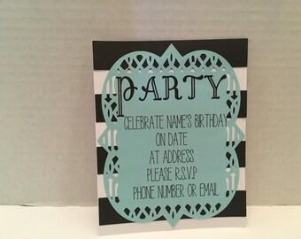 Elegant Party Invitations - Set of 8