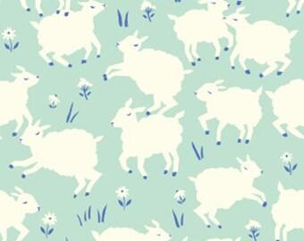 Organic Cotton Knit Fabric - Birch Fabrics - Little Lamb Mint - Mint Lamb Organic Cotton Knit Fabric