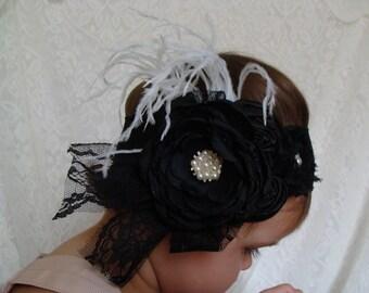 Baby Black Headband Newborn Headband Black Flower Headband Infant Headband Baby Headbands large headband large flower headband black flower