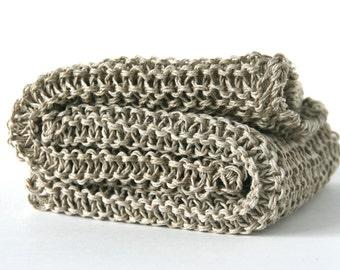 Set of 2 Linen washcloth, Bath linen, Natural skincare, Facial cloth, Eco friendly, Knitted washcloth