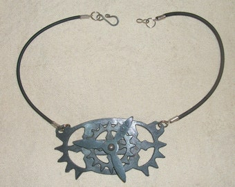 Steampunk Moving Gear and Propeller Airship Engine Necklace