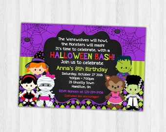 Halloween Birthday Invitations, Party Invitations, Halloween Birthday Party Invitation Printable Invites