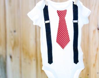 Tie Onesie - Church Onesie - Baby boy onesie - Baby boy Suspenders - Baby boy wedding outfit - Baby boy dress clothes - Bowtie Onesie