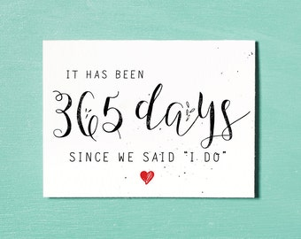 First Wedding Anniversary Card, Instant Download Printable, 365 Days, First Anniversary Gift, I Love You, Anniversary Card, Wedding Gift