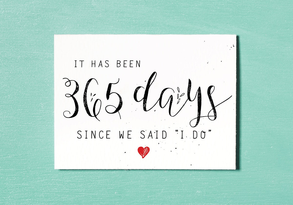 First Wedding Anniversary Card Instant Download Printable 365 Days