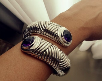 wide tikar with amethys sterling silver cuff