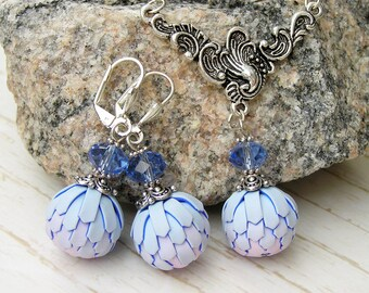 Game of Thrones Dragon Egg Jewelry set light blue necklace earrings Daenerys dragon egg Dragon Egg blue Dragon scales Mermaid scale jewelry