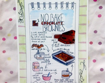 No Bake Chocolate Brownies Recipe Card