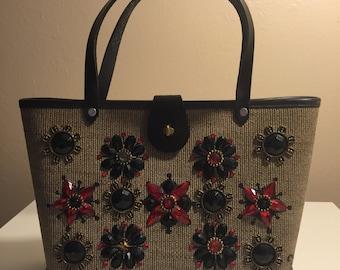 "Rare, vintage Enid Collins ""Mille Fleur"" wooden box purse from 1960s"