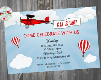 Vintage Red Aeroplane Blue Invitation with Hot air balloons and clouds